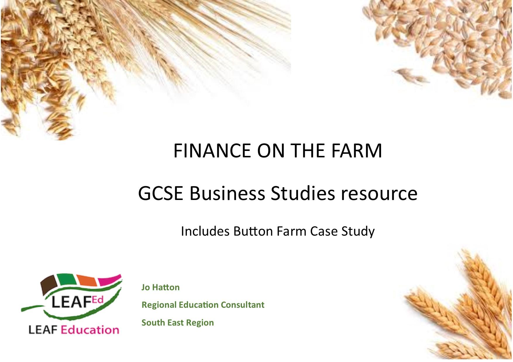 GCSE Business Studies - Finance on the Farm