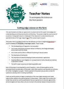 BBSRC Science on the Farm Teacher Notes (English) to accompany posters