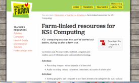 Farm-linked activities for KS1 Computing