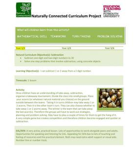 Naturally Connected Curriculum - Outdoor maths