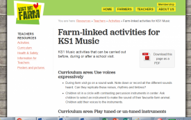 Farm-linked activities for KS1 Music